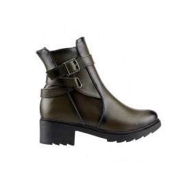 Ayakland 814 Haki Günlük 4 Cm Topuk Bayan Cilt Bot Ayakkabı